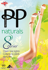 Pretty Polly Naturals Open Toe Tights 8 Denier Toeless Tights with loop 1 pair