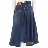 JUNYA WATANABE DENIM AD2015 washed blue deconstructed pleated midi skirt M 27""