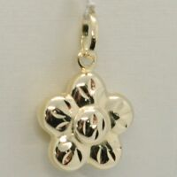 18K YELLOW GOLD ROUNDED FLOWER DAISY PENDANT CHARM 22 MM SMOOTH MADE IN ITALY