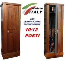 ARMADIO BOX CASSAFORTE LEGNO PORTAFUCILI FUCILIERA BLINDATO 10/12 POSTI FUCILI