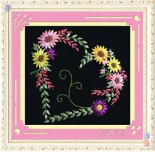 "DIY Ribbon Embroidery Kit Romantic Love Heart 30x30CM /11""x11"" Easy for Beginner"