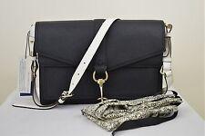 NWT Rebecca Minkof  Hudson Moto Saffiano Leather Handbag Black/White