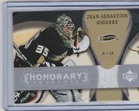 07-08 2007-08 UD TRILOGY JEAN-SEBASTIEN GIGUERE HONORARY SWATCHES JERSEY DUCKS