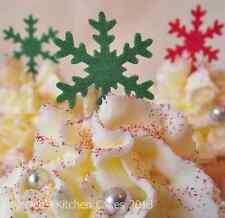 Christmas Cake Decorations - Cupcake Snowflakes - Wafer - Green and Red x 40