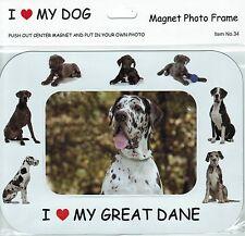 I Love(Heart) My Dog Magnetic Photo Frame & Magnet- Great Dane Dog & pups
