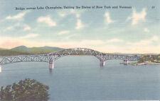 FIVE Vintage Linen Postcards New Bridge Across Champlain Uniting NY and VT