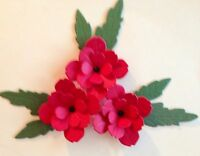 FRESH DELICATE CUT FROM A MEMORY BOX DIE. DRAMATIC RED ROSETTES. 3