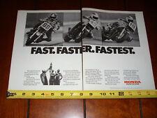 1982 HONDA CB900F SUPERBIKE FREDDIE SPENCER BALDWIN PIETRI - ORIGINAL 2 PAGE AD