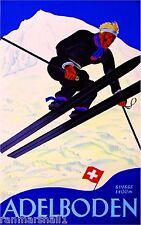 Adelboden Switzerland Suisse Winter Ski Europe Travel Advertisement Art Poster
