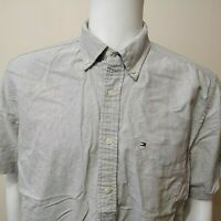 Authentic Men's Tommy Hilfiger Short Sleeve Cotton Shirt Grey - Med.(Check Des.)