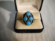~Vintage Southwest Marked Sterling Signed P Turquoise Detailed Ring Size 8.5~