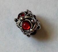 Abalorio/charm/bead  PLATA 925, CIRCONITAS ( CZs ) ROJAS (european bracelet)