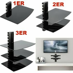 3 Wall Mount Shelf Floating Blacks Glass Bracket For Xbox PS4 Sky TV DVD Shelves