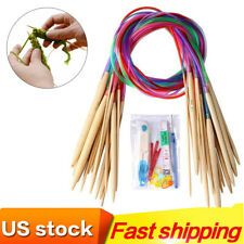 18 Pairs Bamboo Knitting Needles Set with Colorful Plastic Tube 31.5 inch