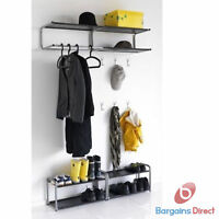 IKEA Lustifik Black and Silver Wall Mounted Hat & Coat Rack Or Shoe Stand