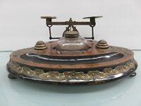 Victorian Inkwell & Scale Desk Set Ornate Brass Scrolled Walnut Base Dublin