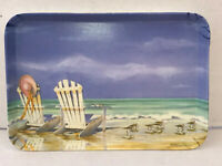 Small Vintage Melamine Tray of Sea Side Scene by R2S Made in Italy