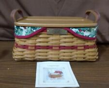 Longaberger 2002 Christmas Collection Traditions Basket Liner Protector Wood Lid