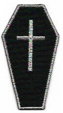 Gothic Coffin with Cross Embroidered Patch / Iron-On Appliqué, Vampire, Costume