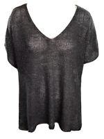 Eileen Fisher Womens Knit Sweater Linen Metallic Grey V-neck Open Knit Back L