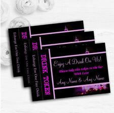Pink Disney Castle Personalised Wedding Bar Free Drink Tokens