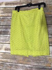 J.CREW No. 2 Pencil Skirt Lime Green Eyelet sz Petite 0