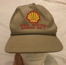 Vintage Shell Oil Western Nabors Rig 7 Beige Trucker Hat Cap Leather Strapback