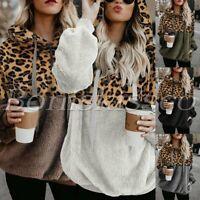 Women's Leopard Blouse Long Sleeve Oversize Tops Hoodie Fleece Sweatshirt S-XL
