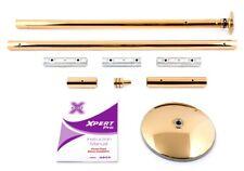 XPole X-PERT Pro 45mm PX Spinning Static Dance Exercise X Pole Set Titanium Gold