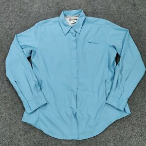 Columbia Shirt M Medium Blue Outdoor Snap Button-Up Long Sleeves Vented Womens