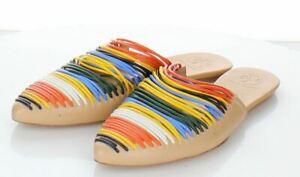 T17 $298 Women's Sz 6 M Tory Burch Sienna Pointy Toe Mule In Nude Multicolor