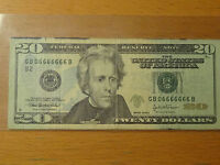 Lucky 2004A $20 Federal Note Fancy Near Solid 6 Serial 6666666 6666 66666 666666