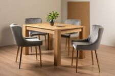 Blake Light Oak 4-6 Seater Dining Table & 4 Cezanne Grey Velvet Fabric Chairs wi