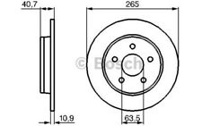 1x BOSCH Disco de Freno Trasero Pleno 265mm Para FORD C-MAX 0 986 479 B80