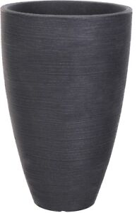 Large 61cm Tall Ribbed Charcoal Planter Plant Pot Plastic Indoor / Outdoor Wide
