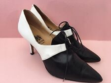 *CHURCHES* Black white vintage tie court shoe monochrome (size uk 7.5) 40.5