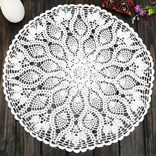 23'' Round Cotton White Pineapple Floral Hand Crochet Doily Placemat Table Cloth
