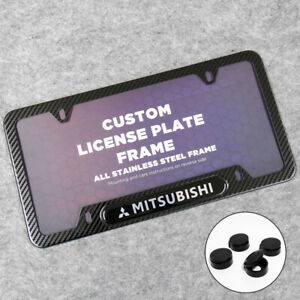 Mitsubishi Sport Front or Rear Carbon Fiber Texture License Plate Frame Cover