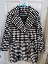 Women's Preston & York Black & White Houndstooth Wool Blend Lined Peacoat Size 8