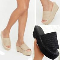 Womens Platform Wedge Espadrilles Sandals Slip On Summer Mules Holiday Party New