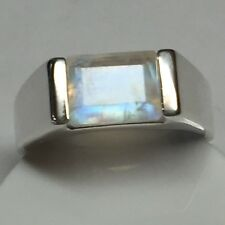 Genuine Emerald Cut Rainbow Moonstone 925 Solid Sterling Silver Men's Ring sz 13