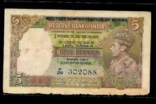 Rs 5/- British India KING GEORGE VI ISSUE Signed By C.D DESHMUKH SIDE FACE