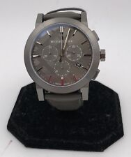 ***Burberry Men's Swiss Chronograph Dark Grey Leather Strap Watch 42mm***