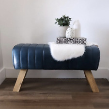 Vintage Blue Leather Pommel Horse Style Bench/Footstool