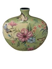 Multicolor Flower Designed Flat Rounded Circle Short Neck Vase W/ Butterflies