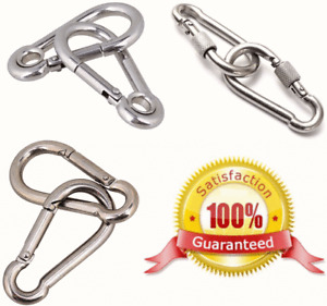 STAINLESS STEEL or GALVANISED Carabiner Clip ~ large small HEAVY DUTY snap hooks
