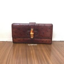 Pre Owned Authentic GUCCI Ostrich Bamboo Long Wallet