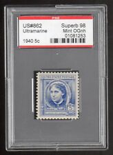 US @ 862 (1940) 5c-PSE Graded: Sup98-Mint OGnh (Encapsulated) Louisa May Alcott