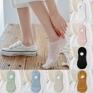 1/5Pairs Women Cotton Boat Socks Invisible Silicone No Show Non-slip Ankle Socks