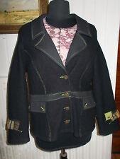 SUPERBE Veste laine noir surpiqué vert PAUSE CAFE 44FR empiecements de tissus
